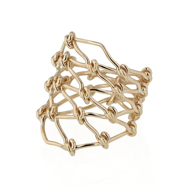 Large Net Ring Yellow Gold | Sarah & Sebastian