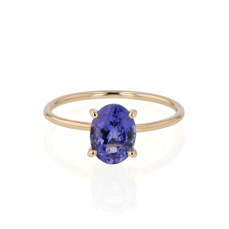 Oval Tanzanite Pin Ring | Sarah & Sebastian