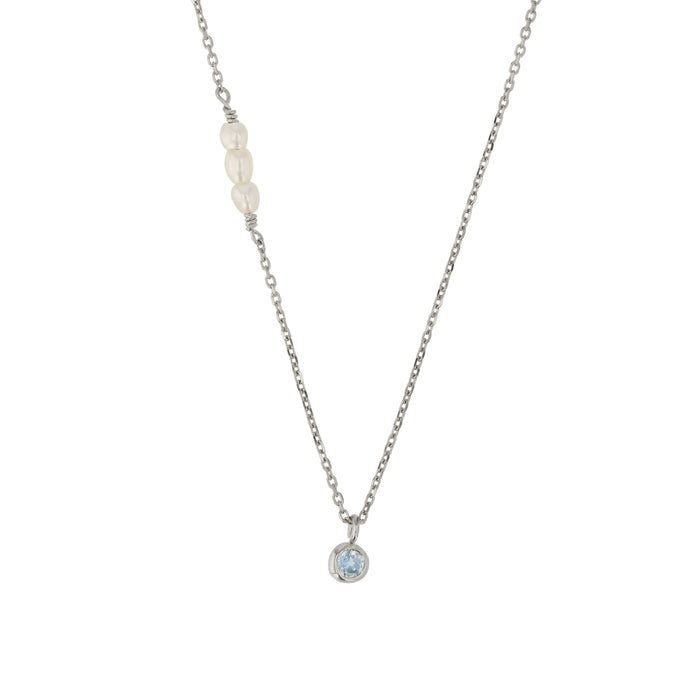 Pearl Stone Necklace Silver | Sarah & Sebastian
