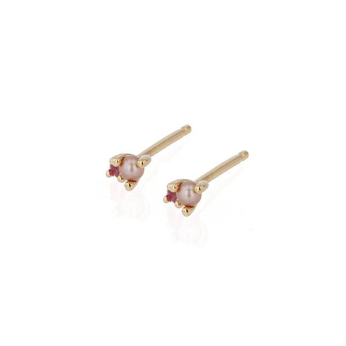 Petite Pink Stud Earrings Yellow Gold | Sarah & Sebastian