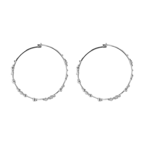 Statement Papilla Hoop Earrings Silver | Sarah & Sebastian