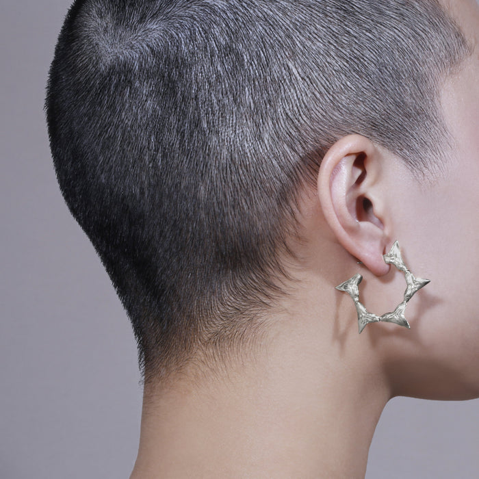 Statement Reef Shark Hoops Silver | Sarah & Sebastian hoverimage