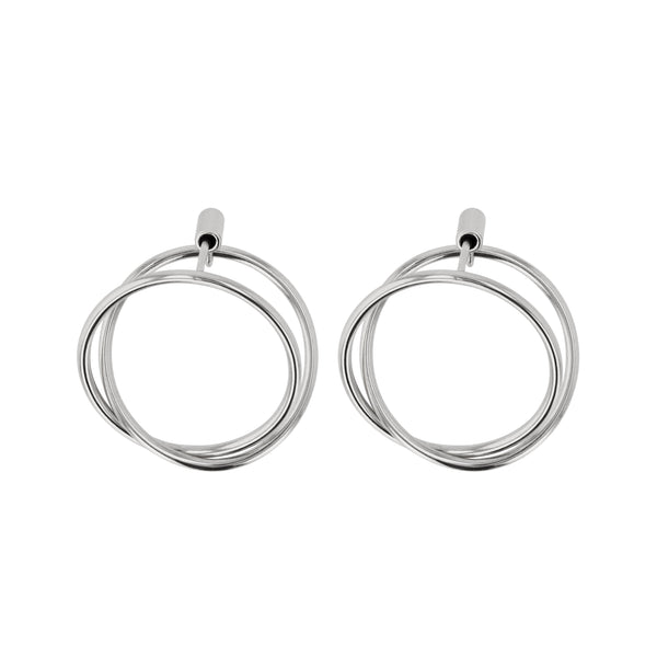 Interlocking Ringed Earrings Silver | Sarah & Sebastian