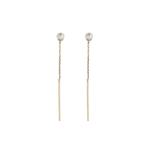 Signature Pearl Chain Earrings Yellow Gold | Sarah & Sebastian