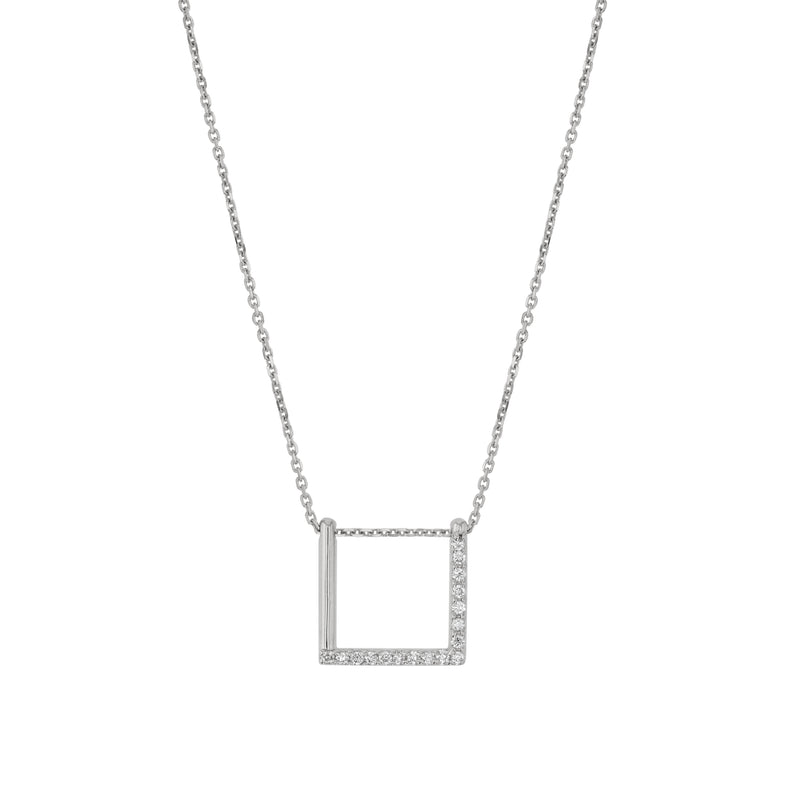 Square Thread Necklace White Gold | Sarah & Sebastian