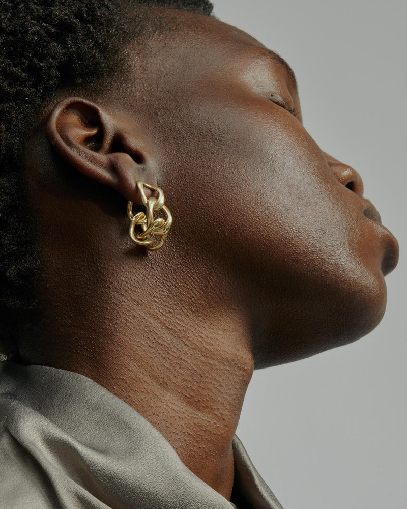 Statement Jelly Chain Earrings Vermeil | Sarah & Sebastian onBody