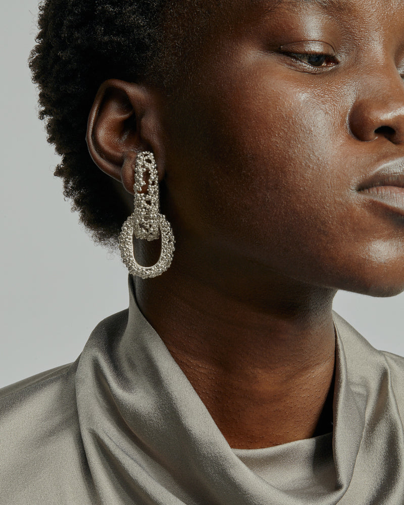 Statement Papilla Chain Earrings Silver | Sarah & Sebastian onBody