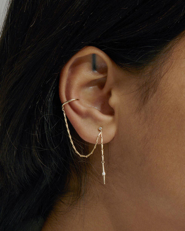 Stinger Diamond Chain Earring Gold | Sarah & Sebastian onBody