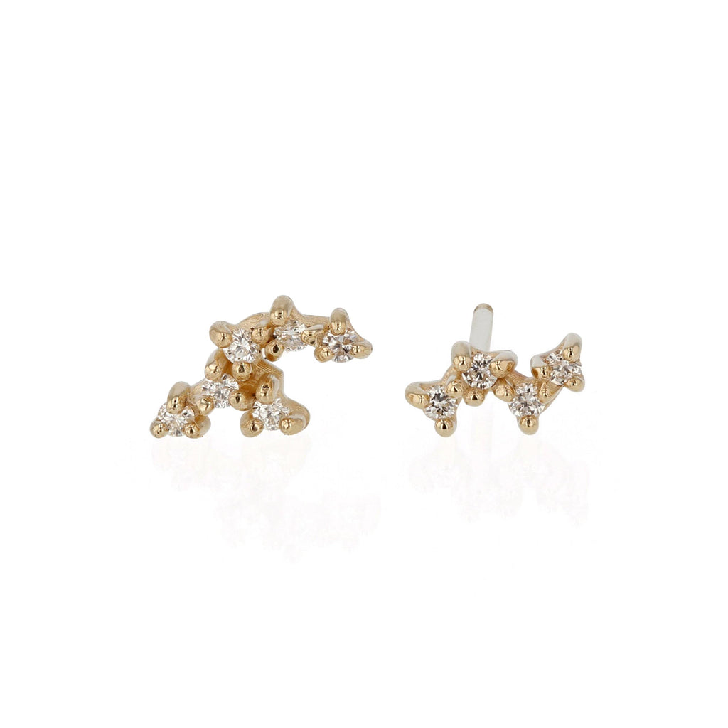 Tiny Cluster Diamond Earrings
