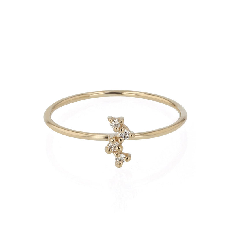 Tiny Cluster Diamond Ring Yellow Gold | Sarah & Sebastian