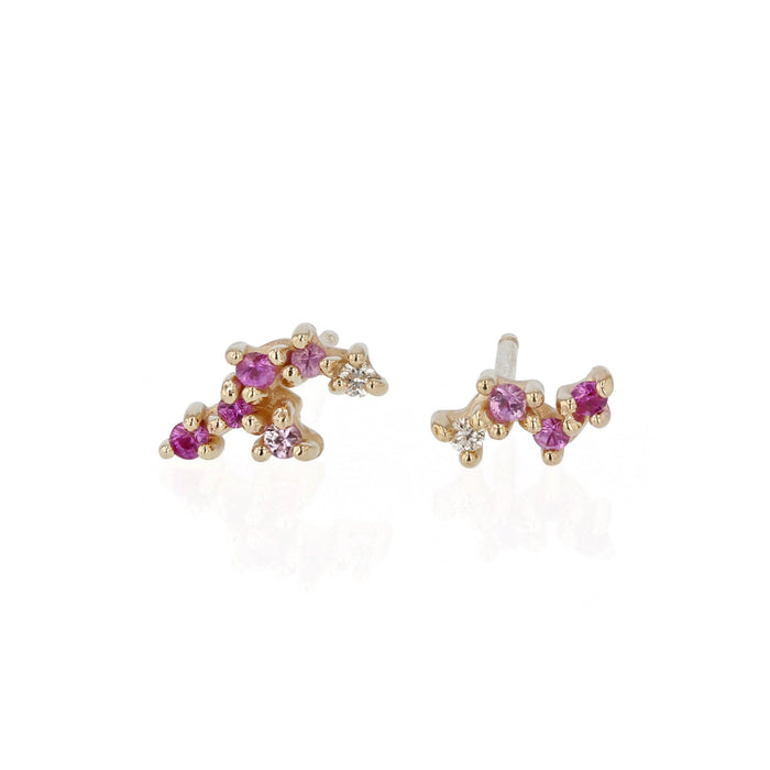 Pink Tiny Cluster Earrings Yellow Gold | Sarah & Sebastian