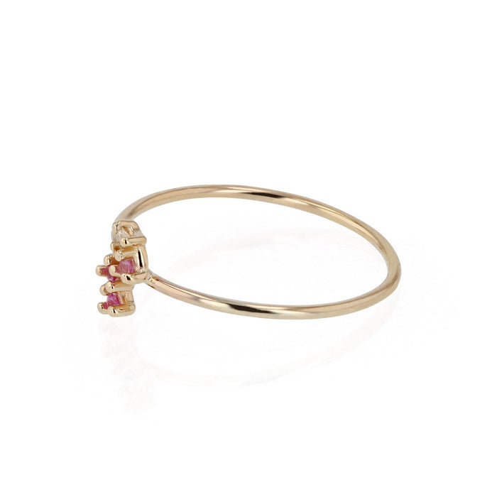 Pink Tiny Cluster Ring Yellow Gold | Sarah & Sebastian