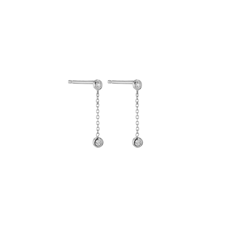 Tiny Lunette Diamond Earrings Silver | Sarah & Sebastian