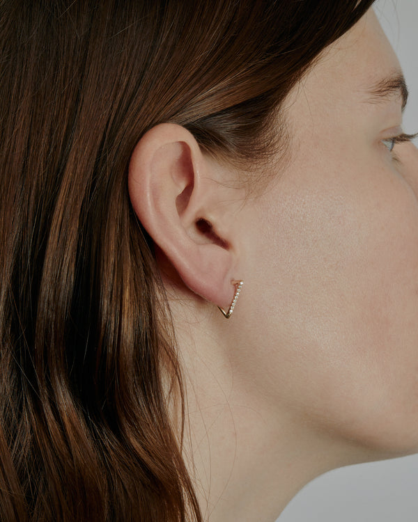 Triangle Diamond Hoop Earrings Gold | Sarah & Sebastian onBody