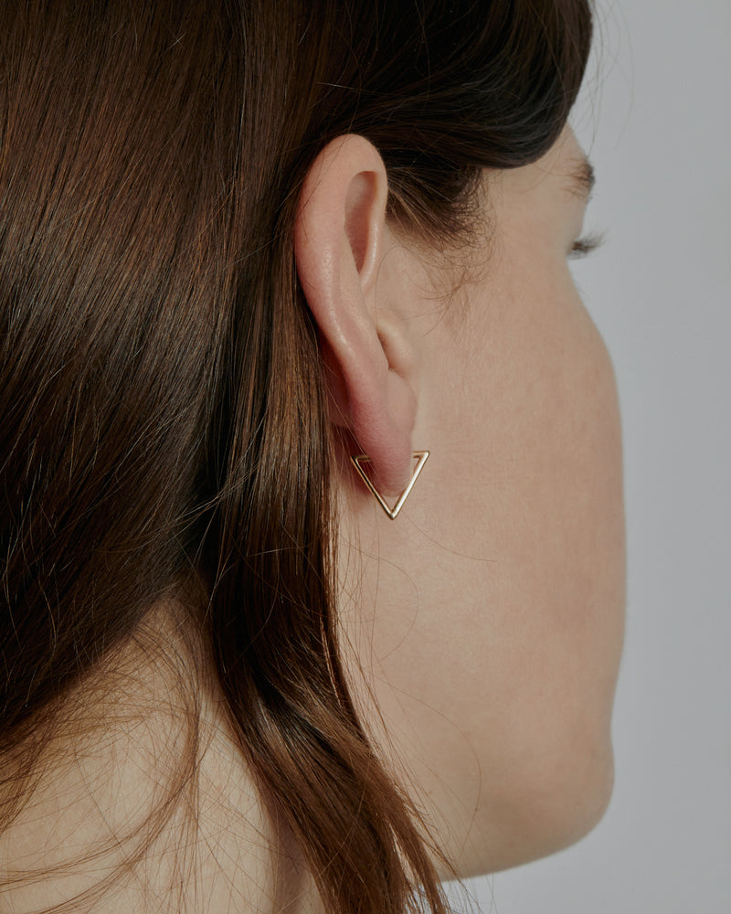 Triangle Hoop Earrings Gold | Sarah & Sebastian onBody