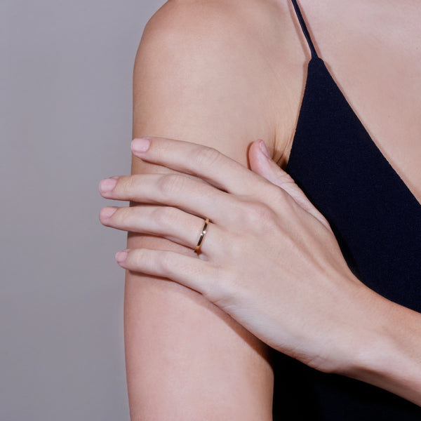 Wedding Band | Bold Square Yellow Gold | Sarah & Sebastian hoverimage