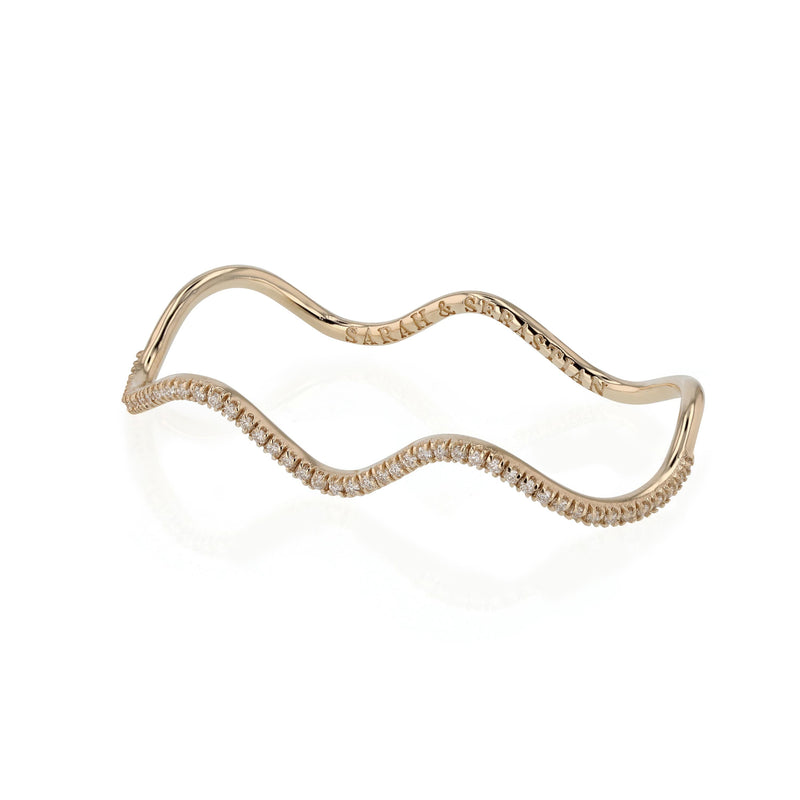 Wave Diamond Two Finger Ring Gold | Sarah & Sebastian