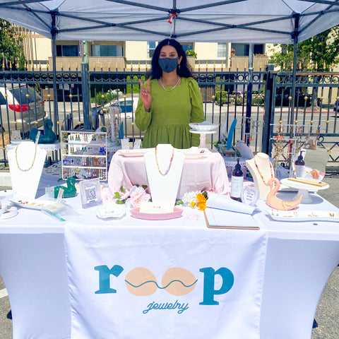 Shilpi Tomar at Roop Jewelry booth at Scottish Rite Center in Oakland