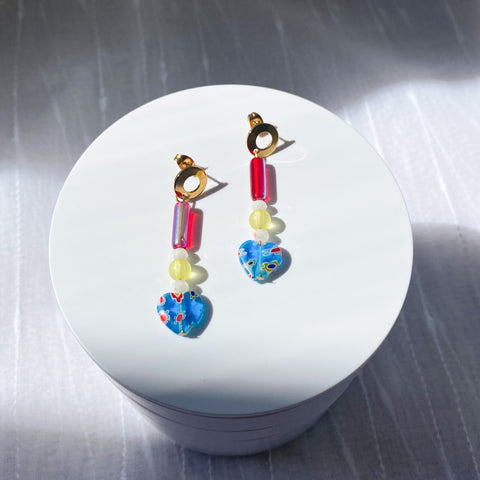 Blue and red millefiori earrings