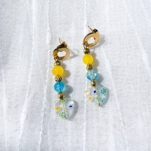 yellow, brass, blue, and clear millefiori earrings