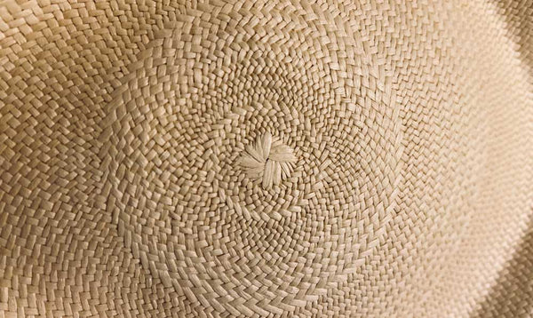 How a genuine Panama hat looks - you can tell by the centre of the crown spiralling out
