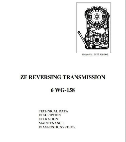 ZF China Reversing Transmission 6WG-158 Techical Data Manual