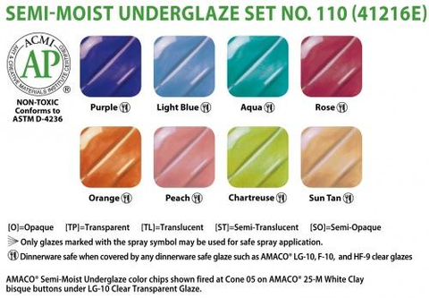 AMACO Semi-Moist Underglaze Set #110