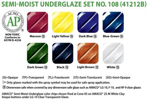 AMACO Semi-Moist Underglaze Set #108