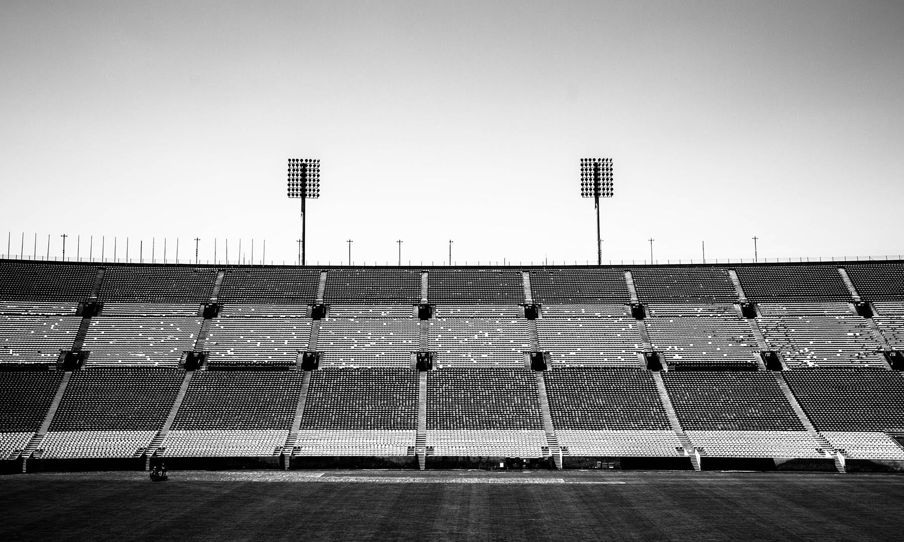Black and white image of a sports stadium