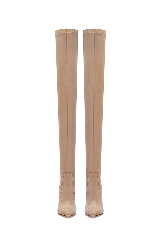 T21 Classic Over The Knee Boot- Nude Suede