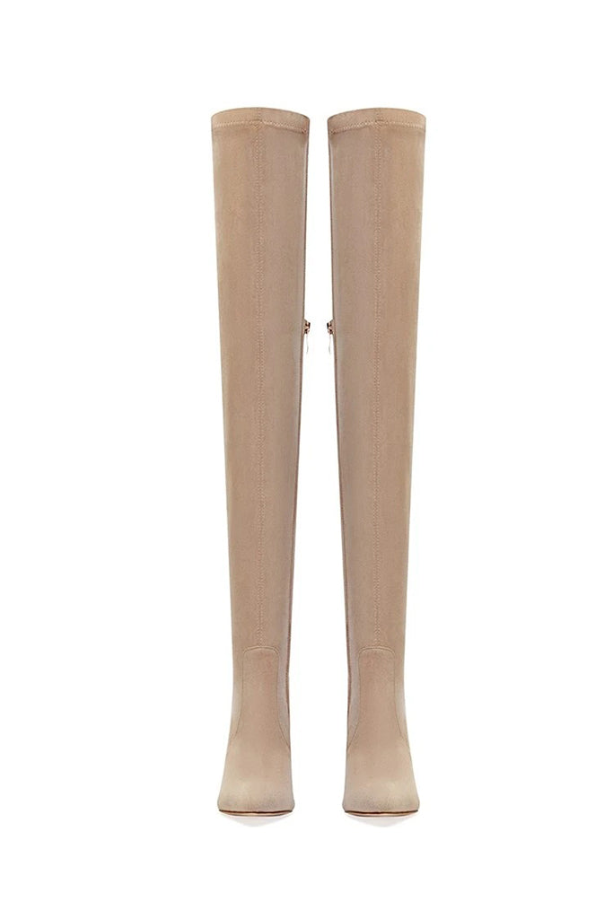T11 Over The Knee Boot- Nude Suede