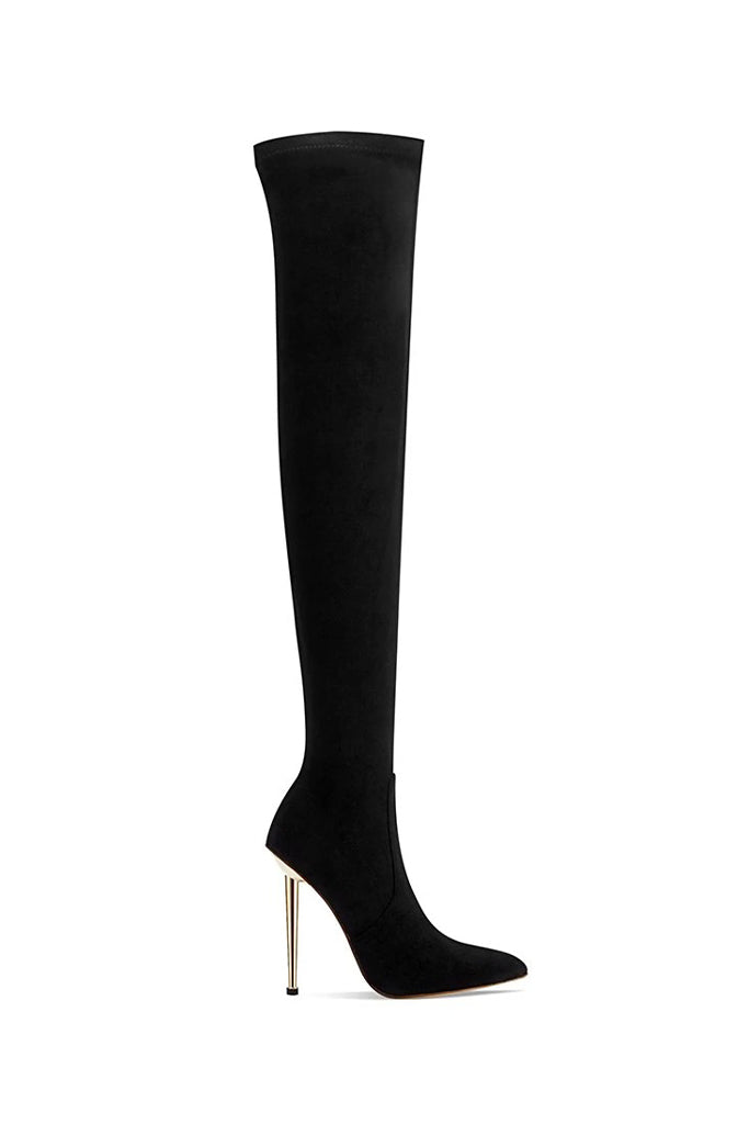 T11 Over The Knee Boot- Black Suede