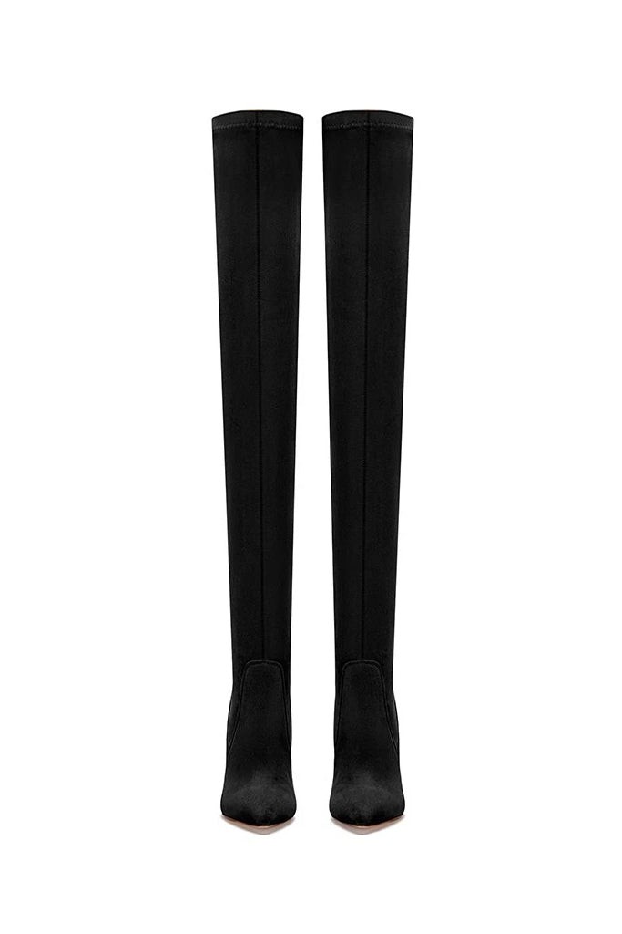 T21 Classic Over The Knee Boot- Black Suede