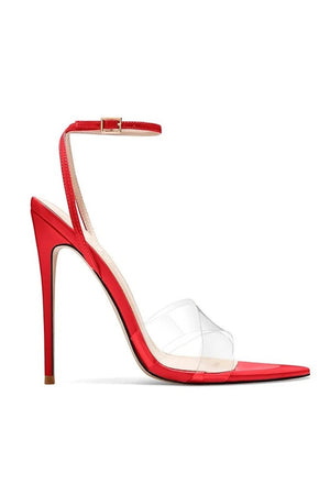 Gia Heel Nude Patent & PVC -  Red