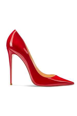 Gia Pumps - Patent Red