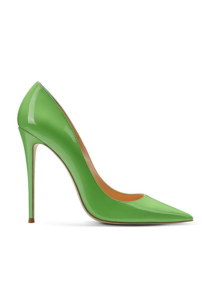 Gia Pumps - Patent Lime