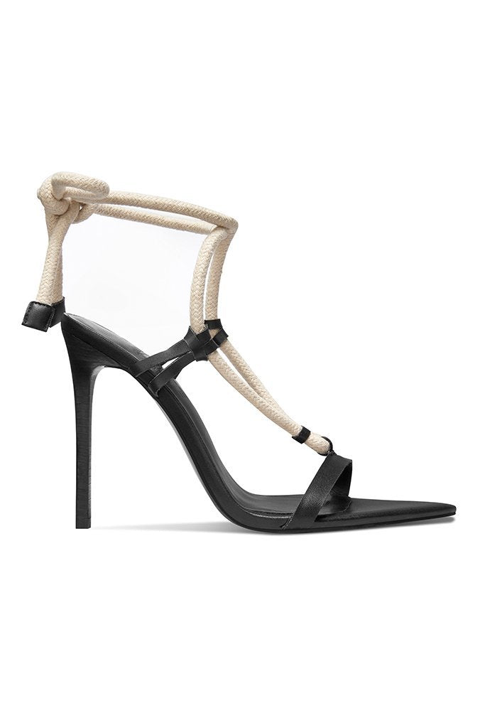 Clearance The SL Rope Gladiator Heel - Black & White