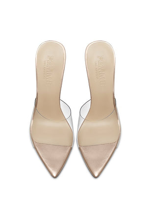 Gigi PVC & Steel Mule - Metallic Rose Leather