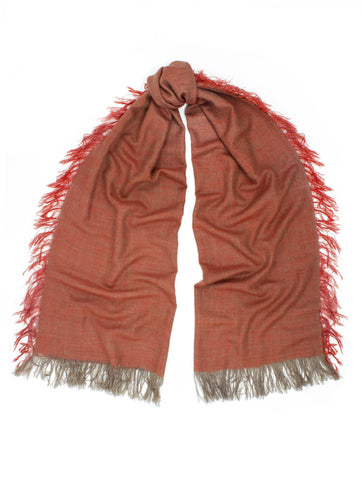 'SADA' FRINGED POMEGRANATE SCARF