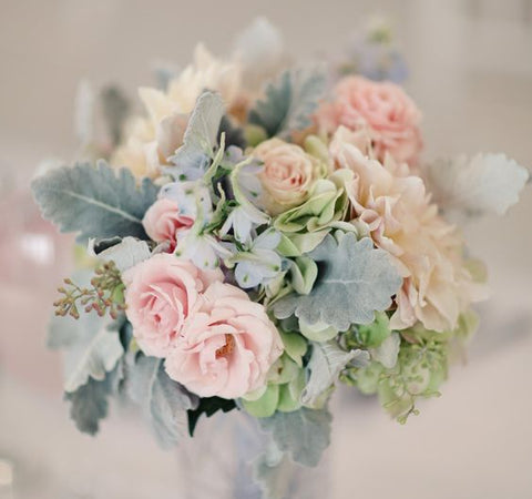Silk Flora Workshops - Roses and Dusty Miller bouquet