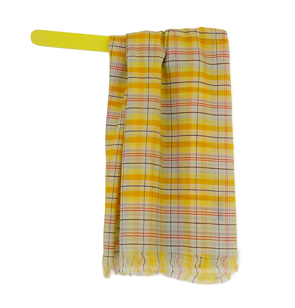 Tribeca Check - Warm Yellow Handwoven checked woolen scarf