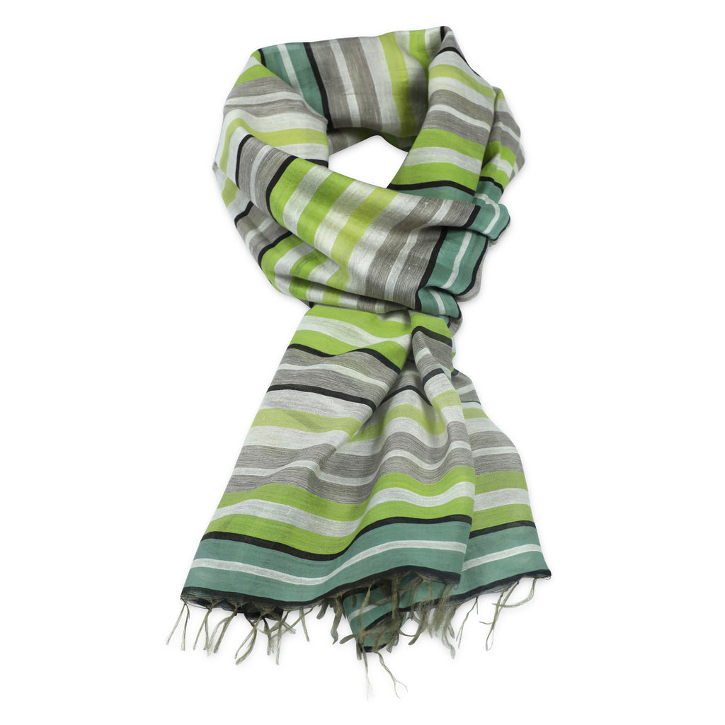 Silk /cotton Stripes. Light green scarf - grøn stribet silke/bomulds tørklæde