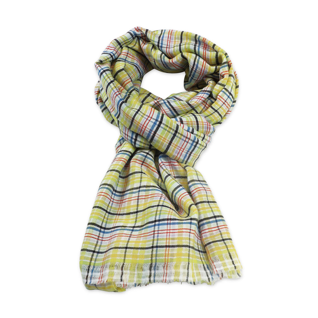 YELLOW Handwoven checked woolen scarf