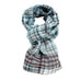Brooklyn Check - Light blue handwoven checked wooden scarf
