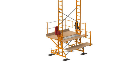 STRENGTH & STABILITY 2½ TIMES THE CAPACITY TWO SPEED WINCH SAFE – LEGAL TO CLIMB CUSTOM FABRICATION ADJUSTABLE PLANKS – UP TO 13 PLANKS RATED FOR 550′ HIGH Scaffold Rental