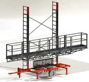 EASILY TOWABLE LADDER ACCESS GAS OR ELECTRIC LEGAL TO CLIMB BUILT-IN ACCESS GATES 1,500LBS CAPACITY Scaffold Rental Aluminum Concrete Forms