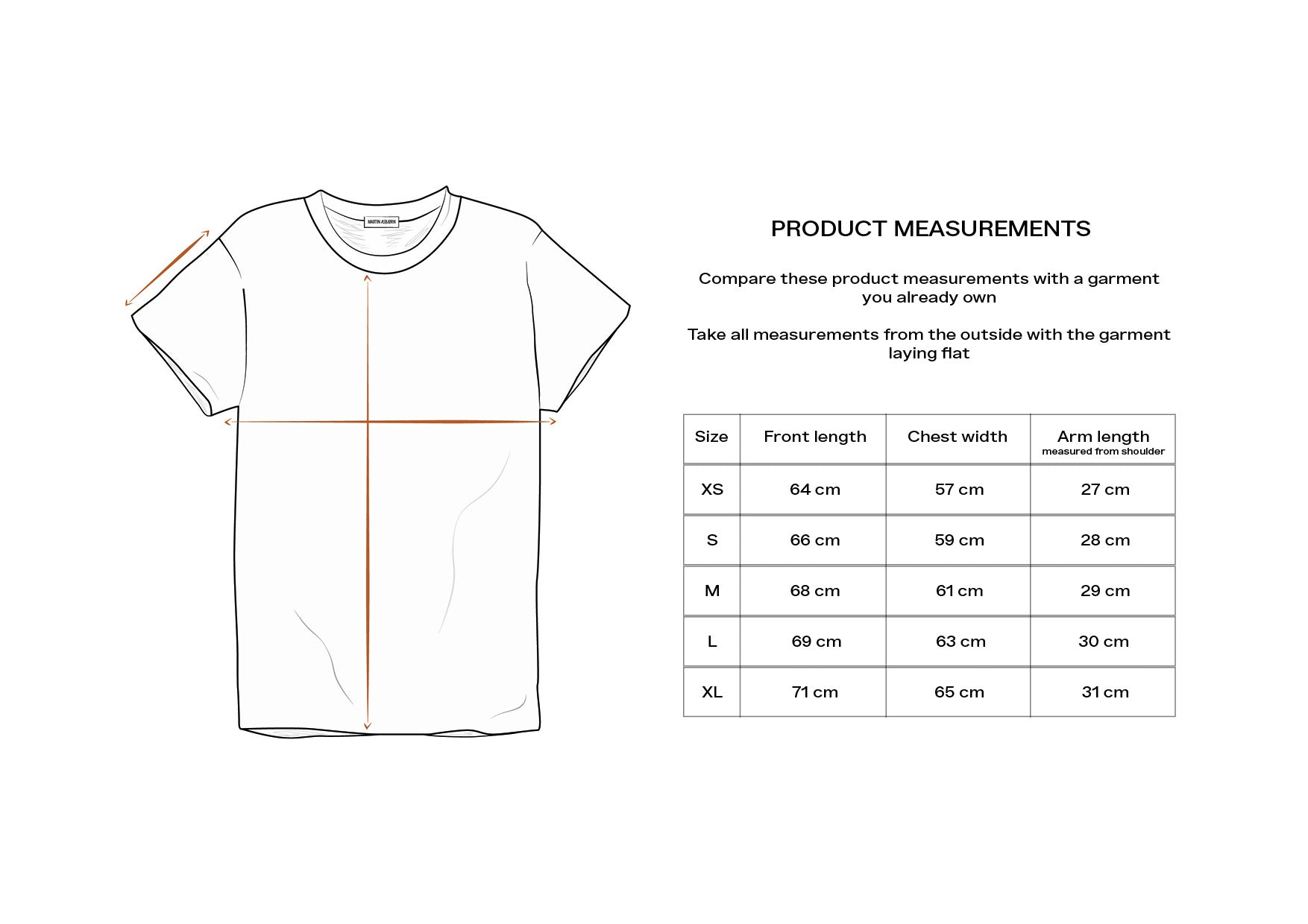 Martin Asbjørn Regular fitted Tee / Size Guide