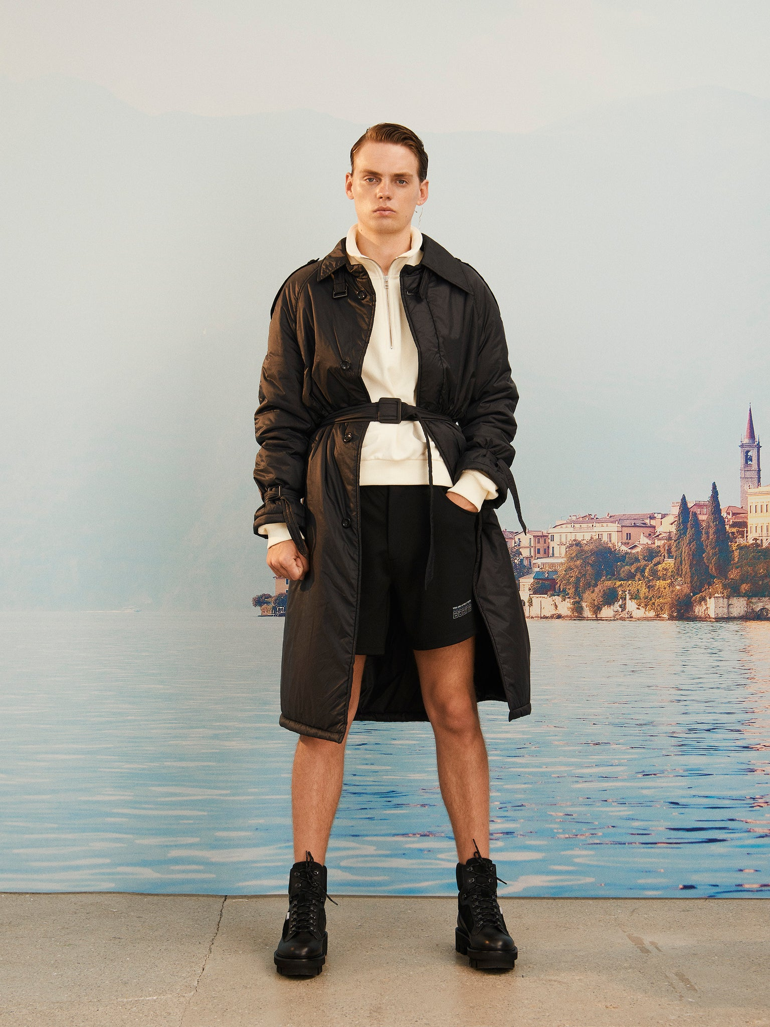 Martin Asbjørn lookbook image from SS20 collection wearing black tennis shorts boring