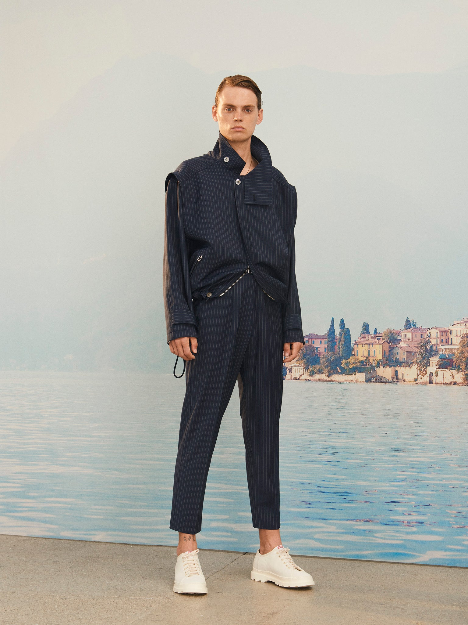 Martin Asbjorn Ma Cropped Trousers Navy Pinstripe Menswear ss20 Spring20 Boring Lookbook