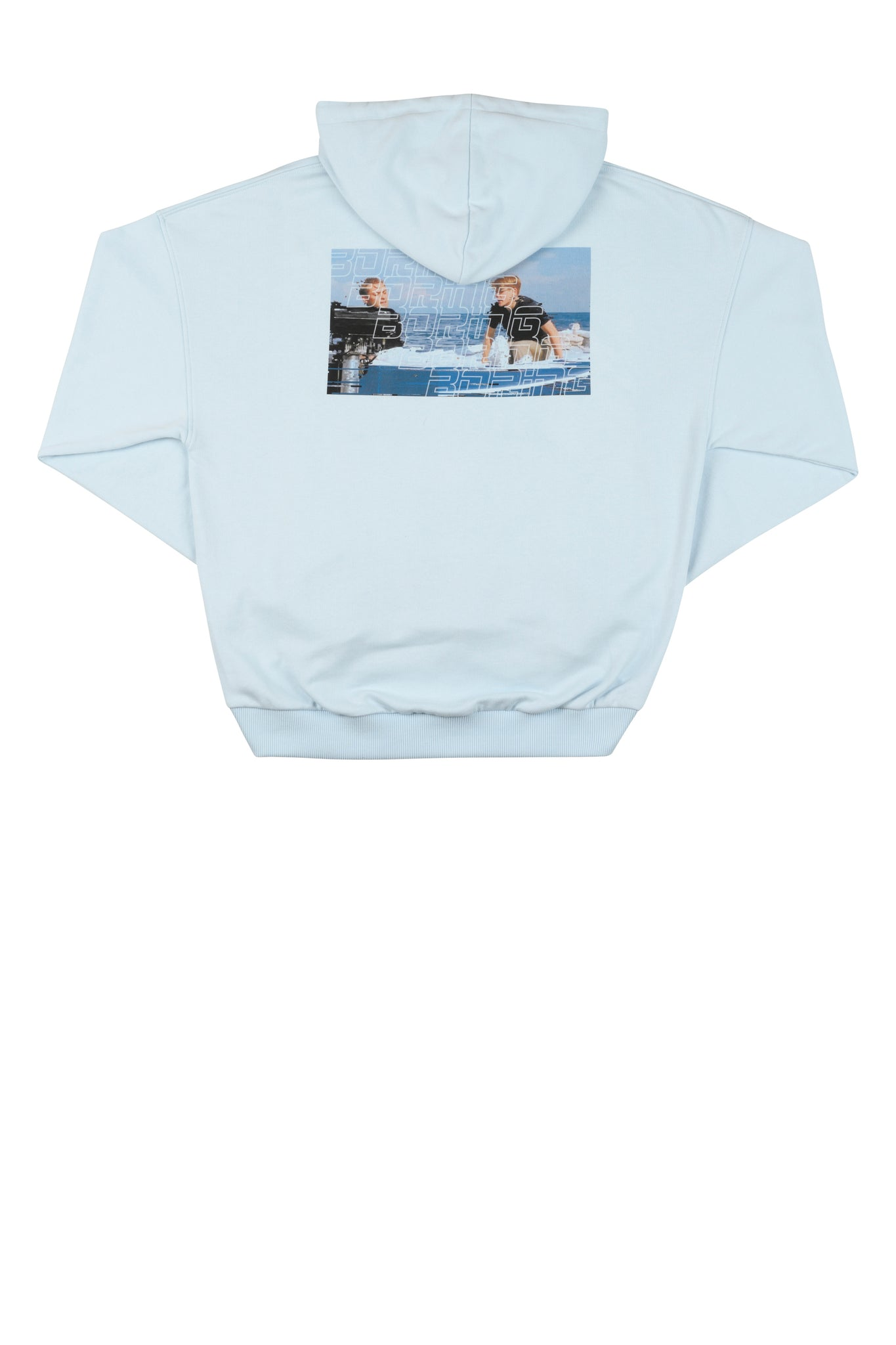 martin Asbjørn cropped blue hoodie with print for men and women